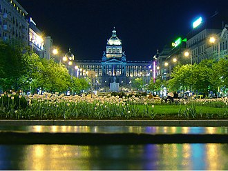 National Museum (Prague) - Night shot of the old facade of the museum, taken from the centre of Wenceslas Square.