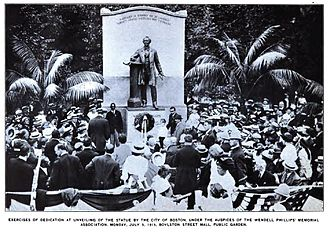 Public Garden (Boston) - Image: Wendell Phillips Memorial Dedication 1915
