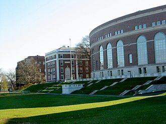 Wesleyan University - The view from Foss Hill. From left to right: Judd Hall, Harriman Hall (which houses the Public Affairs Center), and Olin memorial library.