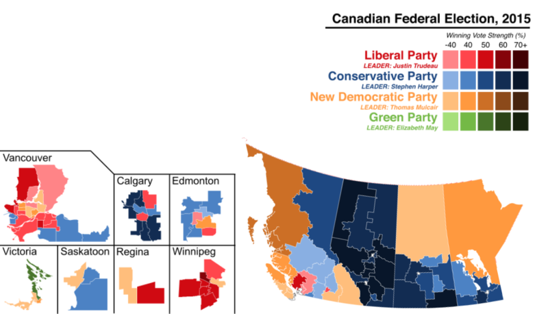 Results of the 2015 Canadian Federal Election by riding in Western Canada.