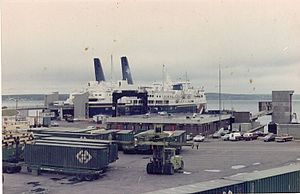 Channel-Port aux Basques - The Marine Atlantic superferry MV ''Caribou'' at North Sydney, with the smaller and older MV Ambrose Shea docked alongside her.