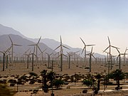 Windmill field outside Palm Springs. Hot temperatures were thought to be pushing California to rolling blackouts though it was later discovered that market manipulation was the cause.