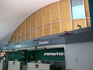 St. Louis Lambert International Airport - Terminal 1 windows boarded up after the tornado
