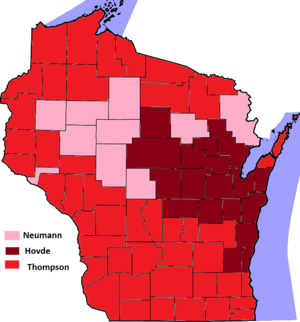 United States Senate election in Wisconsin, 2012 - Results of the 2012 Wisconsin Republican Senatorial Primary with winner indicated by county.