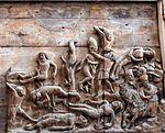 Wismar, St. Nikolai, Märtyreraltar. Holzrelief in der Mitte.JPG