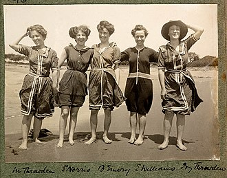 Collaroy, New South Wales - Women in bathing suits on Collaroy Beach (1908) by Colin Caird