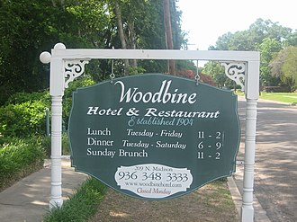 Madisonville, Texas - The Woodbine Hotel and Restaurant in Madisonville dates to 1904.
