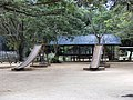 Wooden playground slides, Paramaribo zoo.JPG