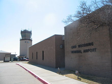 Enid's Woodring airport, named after barnstormer I.A. Woodring, was the first municipally owned airport in Oklahoma Woodringairport.jpg