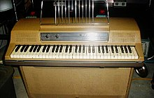Photograph of the front of a Wurlitzer electric piano, showing keyboard