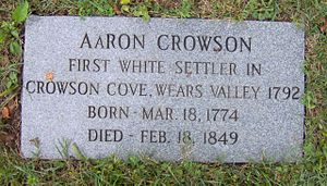 Wear Cove - Aaron Crowson's grave at Crowson Cemetery in Wears Valley