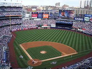 Spectator sport - A Major League Baseball game being played at Yankee Stadium in New York