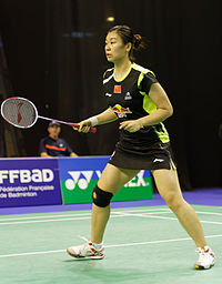 Yonex IFB 2013 - Quarterfinal - Reika Kakiiwa - Miyuki Maeda vs Bao Yixin - Tang Jinhua 02.jpg