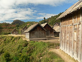 Architecture of Madagascar - The Zafimaniry construct wooden houses with solid doors and shuttered windows.