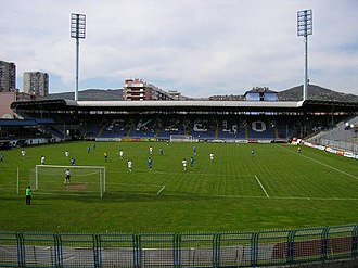 FK Željezničar Sarajevo - Stadium Grbavica in 2006 (view north/years before the stadium renovation)