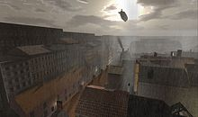 Zeppelin flies over The 1920s Berlin Project, part of the virtual world Second Life