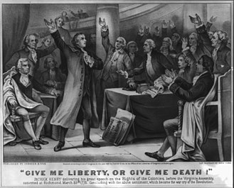 "Give me liberty, or give me death! - ""Give me liberty, or give me death!"", lithograph (1876) from the Library of Congress"