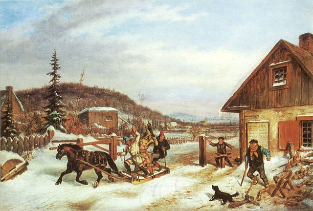 Juin 2021 - Page 2 640px-%27The_Toll_Gate%27%2C_oil_on_canvas_painting_by_Cornelius_Krieghoff%2C_1859%2C_17_x_24_in