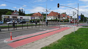 Advanced stop line - Advanced stop line in Gdańsk nearby the University of Gdańsk campus