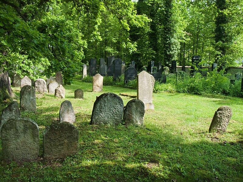 File:Židovský hřbitov Hluboká nad Vltavou - staré a nové.jpg