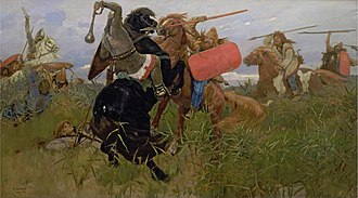 Early Slavs - Battle between the Slavs and the Scythians — painting by Viktor Vasnetsov (1881).
