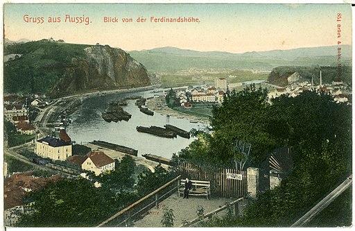 00854-Aussig-1898-Blick von der Ferdinandshöhe auf Aussig und die Elbe-Brück & Sohn Kunstverlag