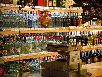 Vodka - Selection of vodkas and spirits at a store in Sanok, Poland