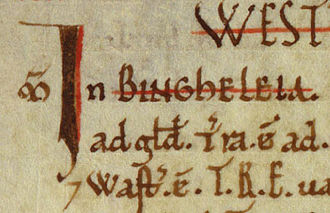 Bingley - Bingley's entry in the Domesday Book. 1086 AD
