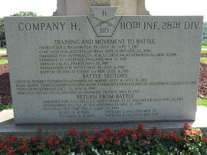 110th Infantry Regiment (United States) - 110th Infantry memorial at Washington (PA) cemetery