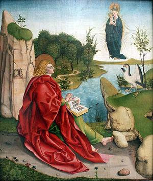 John the Evangelist - Image: 1490 Gleismüller Johannes auf Patmos anagoria