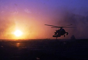 159th Combat Aviation Brigade - An AH-64 from the 159th CAB at sunset