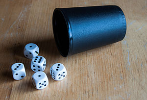 Dudo - Each player has five dice and a dice cup