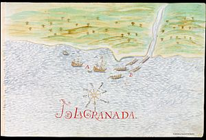 History of Grenada - Spanish ships and Carib boats in Granada, in a report by Nicolás de Cardona, 1632.