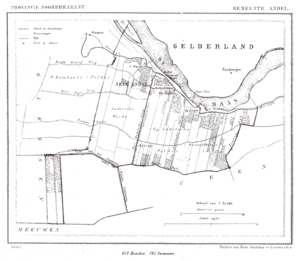 Andel, Netherlands - 1865 map of the municipality.