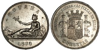 Coat of arms of the Second Spanish Republic - Image: 1870 5 Pesetas