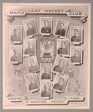 "Winnipeg Maple Leafs - Winnipeg Maple Leafs in the 1907–08 season. Top row, left to right: Fred Lake, James W. Duggan, G. R. Kendall, Jack Lee, W. J. Field. Second row from the top, left to right: Harry Kennedy, William Kean, Lorne Campbell, Frank Swietzer. Third row from the top, left to right: J. A. ""Grindy"" Forrester, Barney Holden, J. Jackson. Bottom row, left to right: Stephen Darcy Regan, Hamby Shore, Jack Winchester."