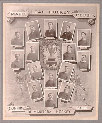 """Winnipeg Maple Leafs - Winnipeg Maple Leafs in the 1907–08 season. Top row, left to right: Fred Lake, James W. Duggan, G. R. Kendall, Jack Lee, W. J. Field. Second row from the top, left to right: Harry Kennedy, William Kean, Lorne Campbell, Frank Swietzer. Third row from the top, left to right: J. A. """"Grindy"""" Forrester, Barney Holden, J. Jackson. Bottom row, left to right: Stephen Darcy Regan, Hamby Shore, Jack Winchester."""