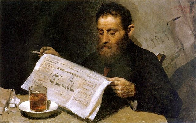Yehuda Pen, Man reading a newspaper
