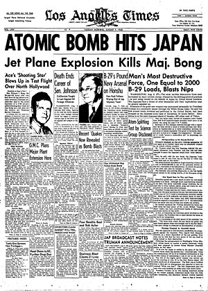 Richard Bong - His death was featured prominently in national newspapers, even though it occurred on the same day as the atomic bombing of Hiroshima.