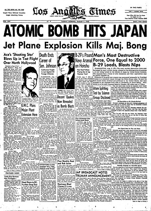 Hiram Johnson - The front page of the Los Angeles Times for August 7, 1945, reporting the atomic bomb attack on Hiroshima and the death of Johnson