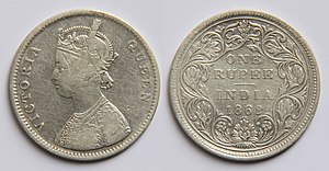 History of the rupee - Obverse: Crowned bust of Queen Victoria.