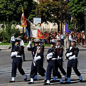Colour guard - Colour Guard of the 1st Naval Fusiliers of the French Navy at the 2008 Bastille Day Military Parade, Paris.