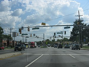 Maryland Route 193 - MD 193 eastbound at MD 195 in Takoma Park