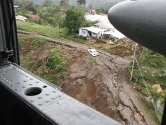 2009 Cinchona earthquake - Landslide seen from a helicopter.