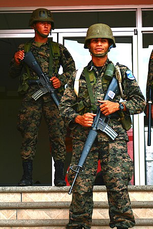 2009 Honduran coup d'état - Honduran Military guard buildings