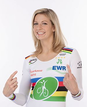 Rainbow jersey - Katrin Schultheis wearing the rainbow jersey for artistic cycling