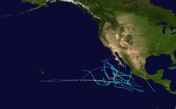 A map of the Pacific Ocean depicting the track of 17 tropical cyclones.