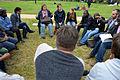2014-06-02 Sudan Flüchtlinge Protest gegen Abschiebung, Weißekreuzplatz Hannover, (27) Gesprächsrunde mit Hilfsinformationen durch Bündnis 90 Die Grünen.jpg