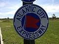 2014-08-29 14 35 45 Atlantic City Expressway sign along U.S. Route 206 southbound at Jacksonville-Jobstown Road (Burlington County Route 670) in Springfield Township, New Jersey.JPG