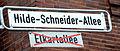 2015-01-08 Hannover, Südstadt, Straßenschild Hilde-Schneider-Allee anstelle von Elkartallee, Ecke Hildesheimer Straße.jpg